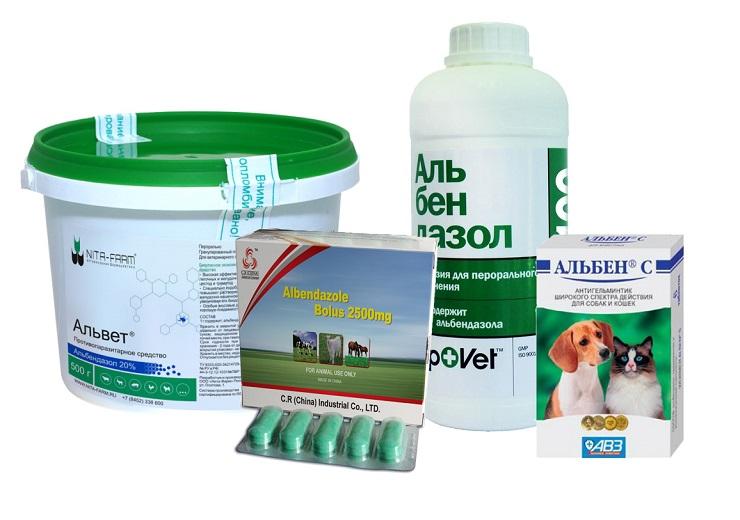 Альбендазол для животных в разных формах