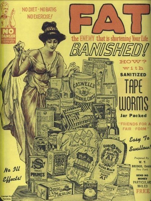 Первая реклама таблеток для похудения с глистами