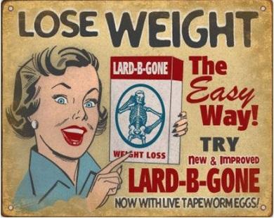 Рекламный плакат с рекламой о похудении при помощи глистов